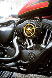 Close-up on a Harley Davidson with custom art Stock Photo