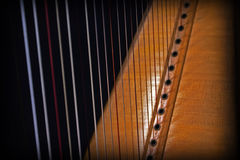 Close up of harp strings Royalty Free Stock Photos