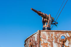 Close-up of harpoon gun on rusty bow Royalty Free Stock Images