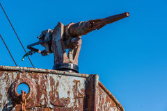 Close-up of harpoon gun in rusty whaler royalty free stock photo