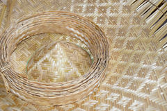 Close up hat Bamboo weave sheets for weaving Royalty Free Stock Photography