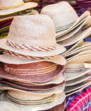 Close up hats in the market Royalty Free Stock Images