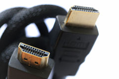 Close-up HDMI data cable. HDMI data cable for computer and television on white background Royalty Free Stock Photos