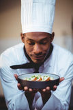 Close-up of head chef presenting salad. In commercial kitchen Royalty Free Stock Image