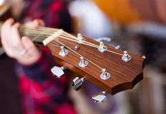 Close up of head of guitar Stock Photography
