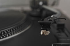 Close up with head and needle of a HiFi stereo turntable player Stock Images