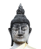 Close-up head of old buddha statue in Thailand isolated Stock Photo