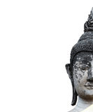 Close-up head of old buddha statue in Thailand isolated Stock Photos