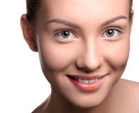 Close up head shot of beautiful young woman stock image