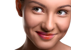 Close up head shot of young woman looking at the royalty free stock photos
