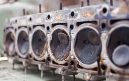 Close-up the head of a six-cylinder engine Royalty Free Stock Images