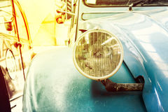 Close Up of Headlight Lamp Blue Vintage Classic Car Royalty Free Stock Photos