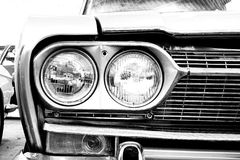 Close Up of Headlight Lamp Vintage Classic Car. Stock Image