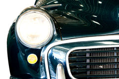 Close Up of Headlight Lamp Vintage Classic Car. Stock Photo