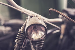 Close up headlight of old vintage bicycle Royalty Free Stock Photo