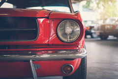 Close up headlight of red Retro classic car Stock Photography