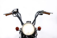 Close up of headlight on vintage motorcycle. Custom chopper / sc royalty free stock images