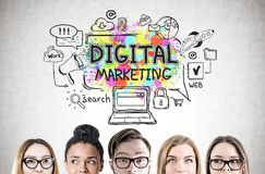 Young people s heads, digital marketing Stock Photos