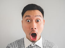 Close up of headshot of surprised and shocked face man. royalty free stock photography
