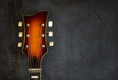 Close-up of headstock old electric jazz guitar Royalty Free Stock Photos