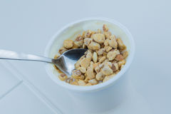 Close-up of healthy cereal and chocolate and white yogurt on the spoon Royalty Free Stock Photos