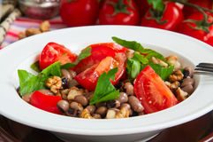 Close up of healthy and delicious salad with ripe tomatoes bean Royalty Free Stock Photography