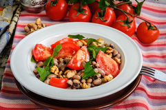 Close up of healthy and delicious salad with ripe tomatoes bean Stock Photos