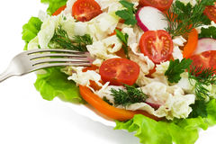 Close-up of Healthy Fresh Salad. On white background Stock Photos