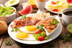 Breakfast. Close up on healthy full breakfast Royalty Free Stock Image