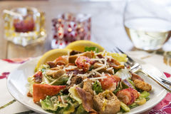 Close up of a healthy lobster Caesar salad Stock Photography