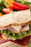 Close Up Healthy Lunch Sandwich With Peppers Stock Photo