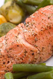 Close up of healthy salmon with vegetables Royalty Free Stock Photo