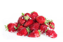 Close up of heap of fresh clean strawberries Royalty Free Stock Photo