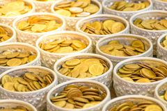 Money gold coins stock photo