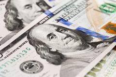 Close up heap of one hundred dollars, selective focus. Dollars, the us money background