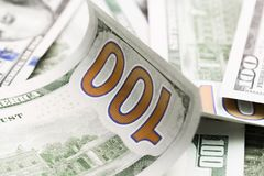 Close up heap of one hundred dollars, selective focus. Dollars, the us money background stock photo