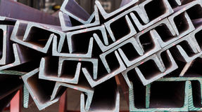Close up heap of U shape beam steel Royalty Free Stock Photos