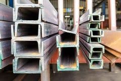 Close up heap of U shape beam steel Stock Photography