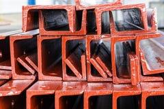 Close up heap of U shape beam steel in factory shelf Stock Images