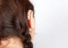 Close up of a hearing aid with ear Royalty Free Stock Photos