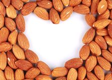 Close up of heart from almonds. Stock Image