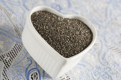 Close up of Heart Full of Chia Seeds Stock Photography