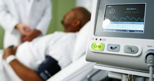 Close-up of heart rate monitor in icu