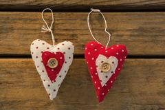 Close up of heart shape Christmas decoration. On wooden table Stock Images
