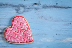 Heart shaped cakes on wooden background. Close-Up Of Heart Shape Cookies On Wooden Table background Stock Image