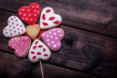 Heart shaped cakes on wooden background. Close-Up Of Heart Shape Cookies On Wooden Table background Royalty Free Stock Images