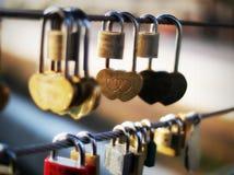 Close-up of heart shape padlock on bridge railing, Ljubljana, Slovenia, Europe Royalty Free Stock Images