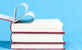Close up on heart shaped book pages Royalty Free Stock Photography
