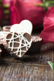 Close up of Heart Shaped Chocolate royalty free stock photography