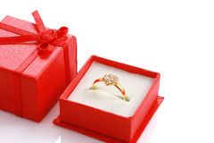 Close up heart shaped ring in red gift box Stock Image